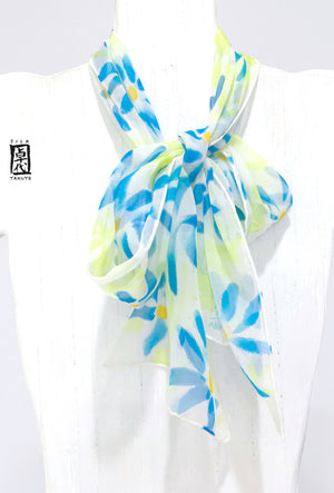Small Silk Chiffon Scarf, Blue Wildflowers