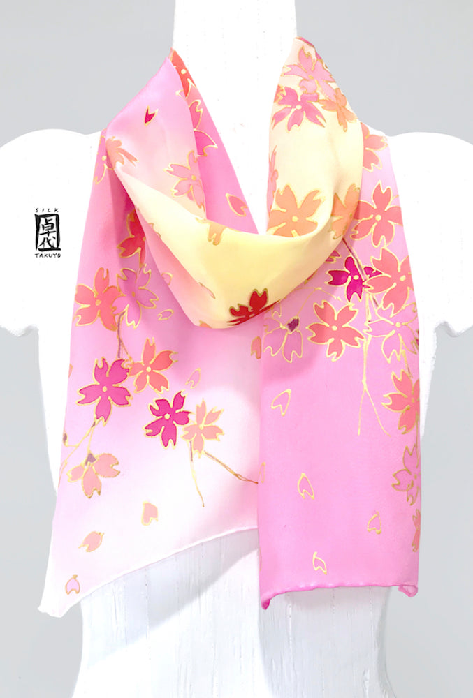 Small Silk Crepe Scarf, Cherry Blossoms in Pink Ombre