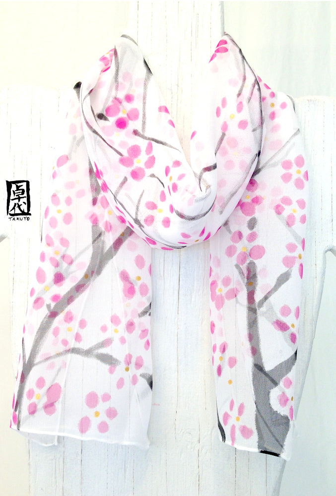 Small Silk Scarf, Plum Blossoms in Pink