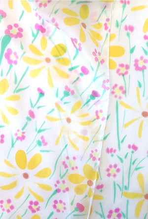 Small Silk Scarf, Summer Wildflowers in Yellow