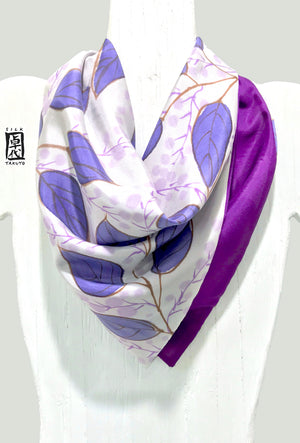 Small Square Silk Neck Scarf, Purple Summer Vine