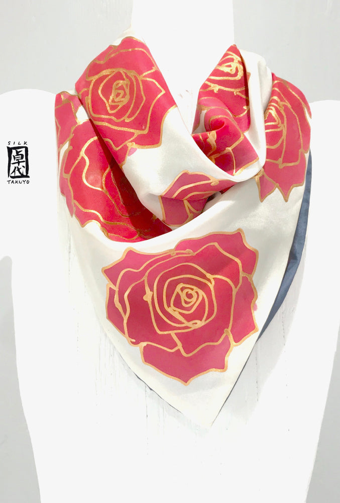 Small Square Silk Scarf, Blue and Red Roses