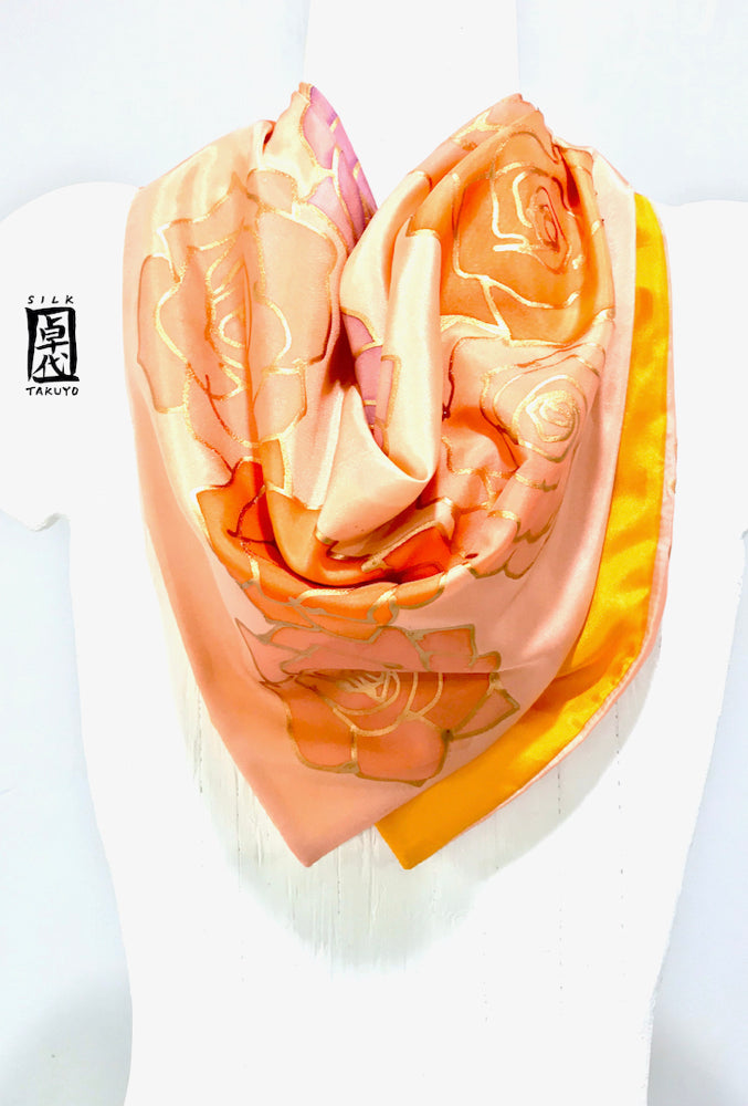 Small Square Silk Scarf, Orange and Coral Pink Roses