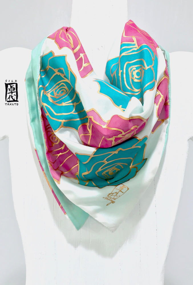 Small Square Silk Scarf, Turquoise and Pink Roses