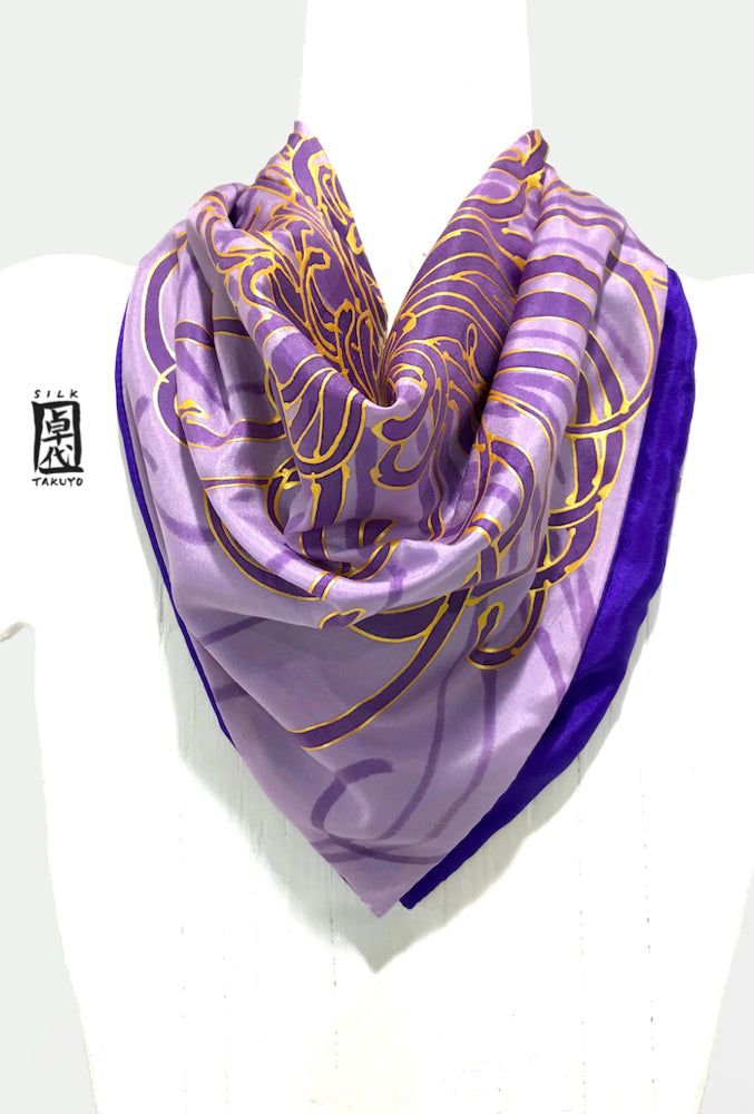 Square Chrysanthemum scarf, Purple and Gold