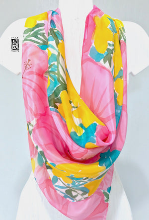 Square Silk Scarf, Head Scarf, Pink Hibiscus