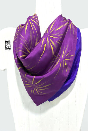 Square Silk Scarf, Purple and Gold Hanabi