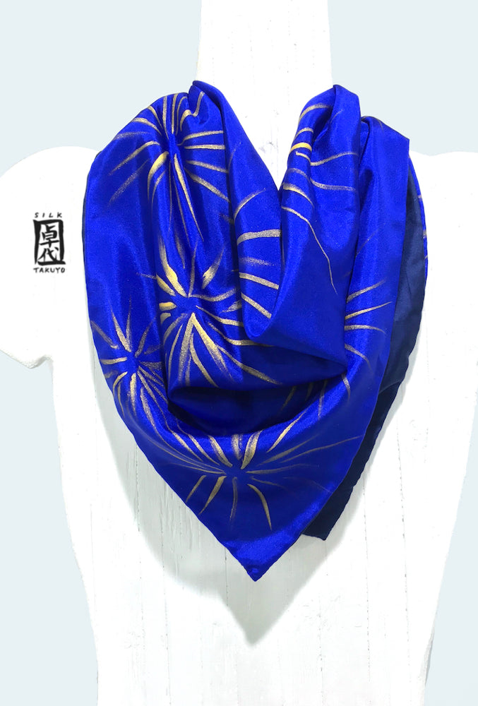 Square Silk scarf, Navy and Blue Hanabi, Reversible Scarf
