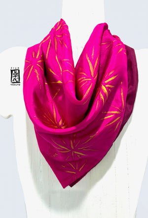 Square Silk scarf, Pink and Plum Hanabi, Reversible Scarf