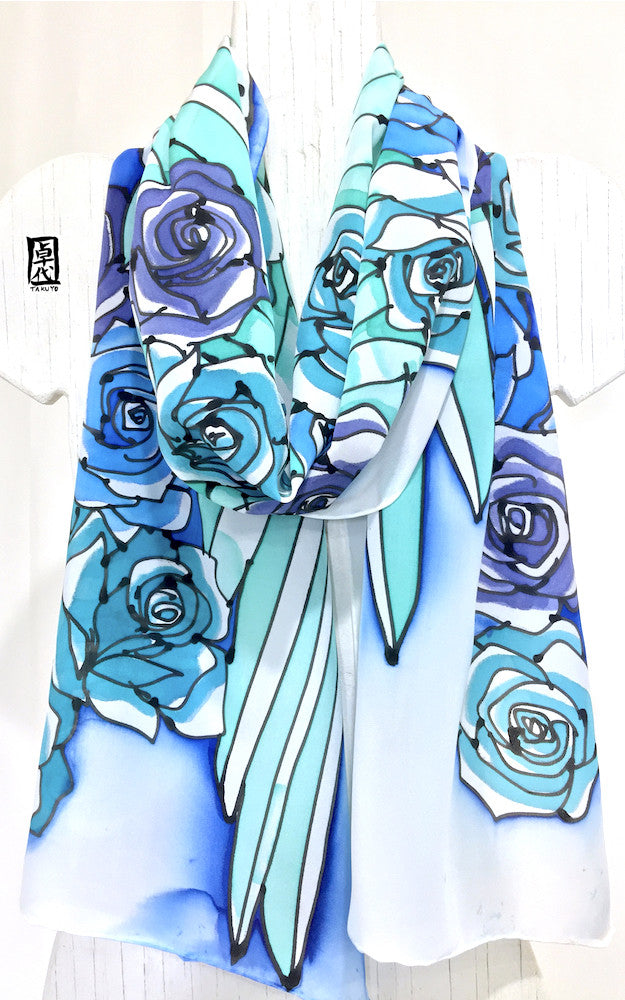 White Wing Scarf, Blue, Mint
