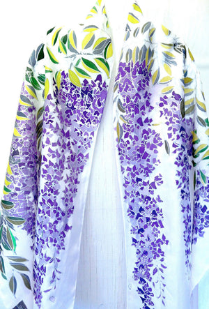 Purple Wisteria Shawl with Silver