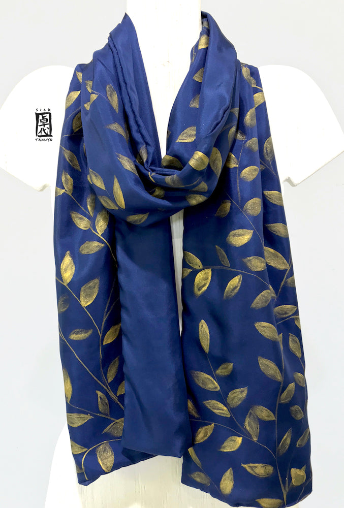 Womens Reversible Silk Scarf, Navy Blue Gold Vines