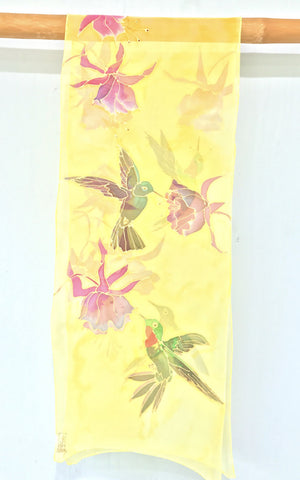 Yellow Chiffon Scarf, Hummingbirds, Pink Fuchsia