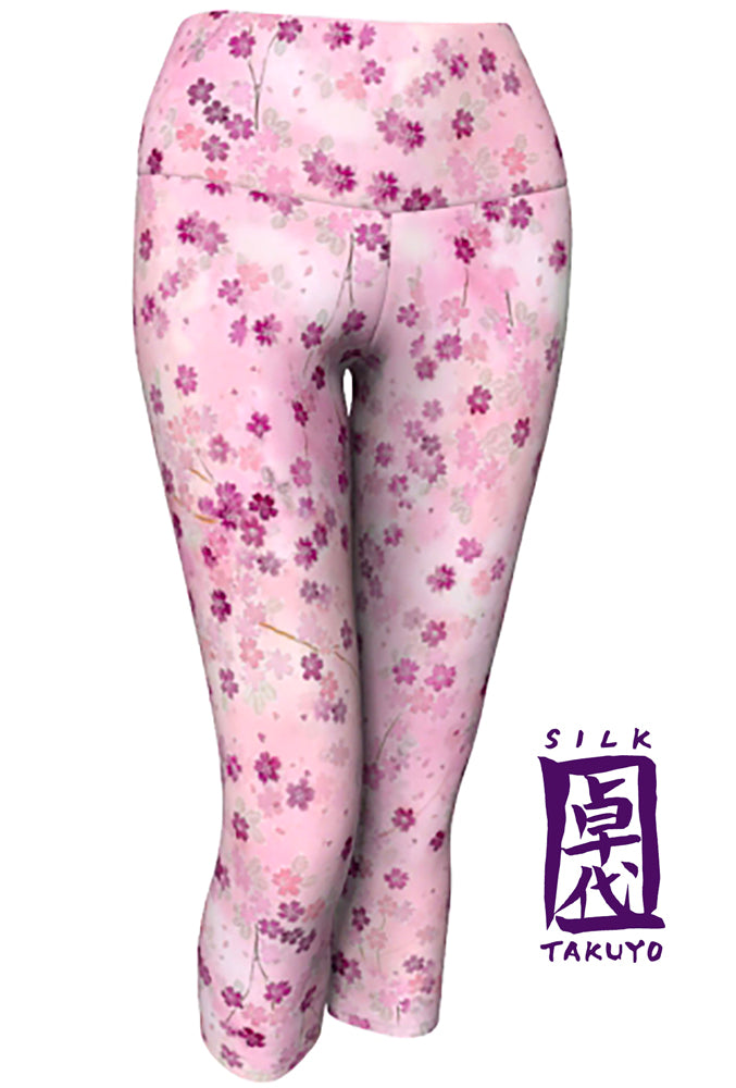 Yoga Cropped Capris Leggings, Pink Cherry Blossoms