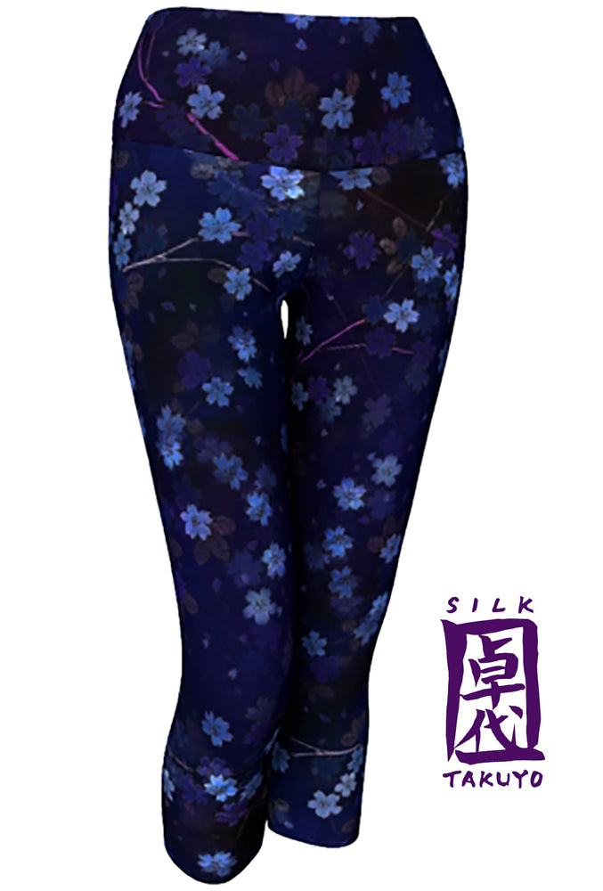 Yoga Leggings Cropped, Dark Blue Night Sakura