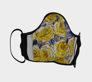 Cotton face covering, yellow roses