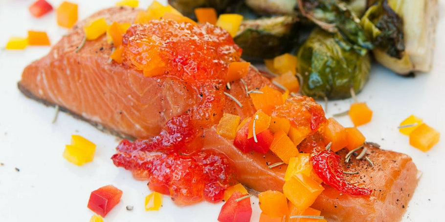 ROASTED SALMON WITH PEPPER JELLY GLAZE
