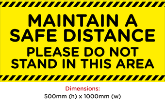 Hazard Keep Distance Rectangular Floor Sticker