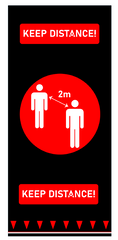 Social Distancing Floor Signage Mat - Design 1 Red 2000mm X 900mm