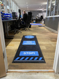 Social Distancing Floor Signage Mat - Design 3 Blue 2000mm X 650mm