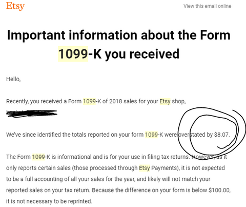 Important information about your 1099-k email from Etsy