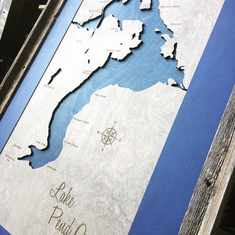 Lake Pend Oreille, Idaho Framed  Custom Engraved 3-D Wood Map Wall Hanging