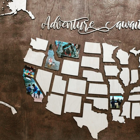 Adventure Awaits Family Travel Wood Map - READ DESCRIPTION