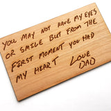 Wood Wallet Card with Personalized Message