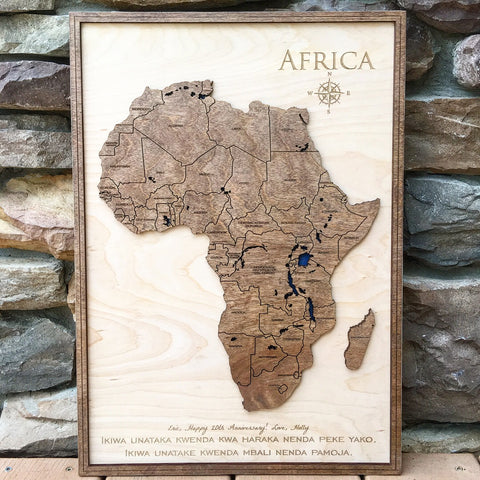 Africa 3d Wood Map