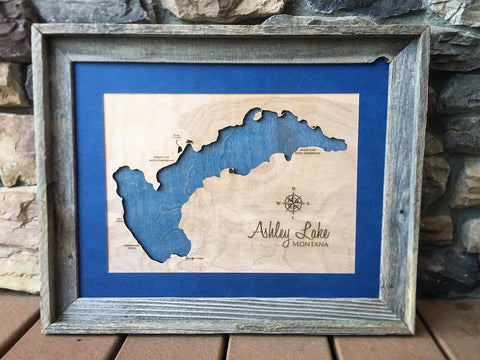 Ashley Lake, Montana Engraved 3-D Wood Map