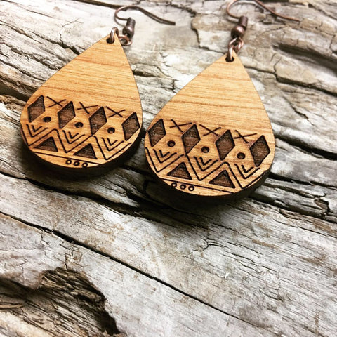 Geometric Engraved Wood Teardrop earrings