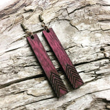Engraved Chevron Wood bar earrings