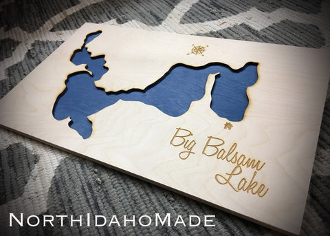 Big Balsam Lake, Minnesota Custom Engraved 3-D Wood Map Wall Hanging