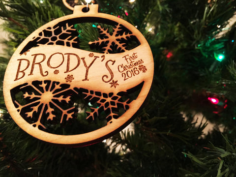 Brody or Any Custom Name Engraved Baby's First Christmas Ornament