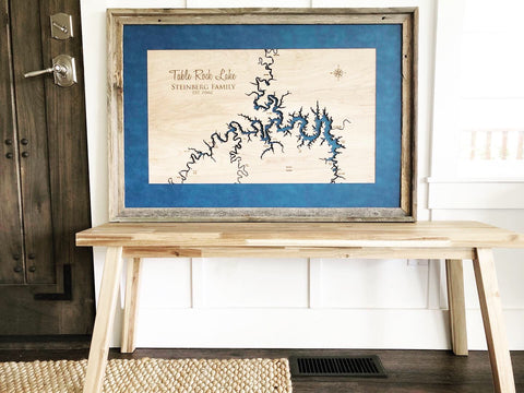Table Rock Lake, Missouri Custom Engraved 3-D Wood Map Wall Hanging
