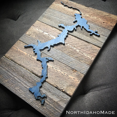 Barnwood Mounted Lake Coeur D'Alene, Idaho 3-D Wood Wall Hanging