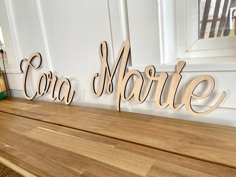 Custom Nursery Names - Cursive Word Cutout Sign - Cora Marie