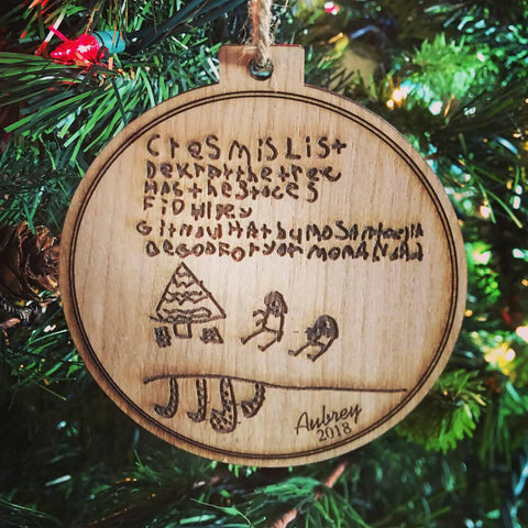 Children's Artwork and/or Handwriting Engraved Wood Christmas Ornament