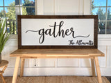Gather | Personalized Family 3-D Wood Sign | Handbuilt Frame XL 20x47""