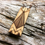 Geometric Mountains Engraved Wood bar earrings