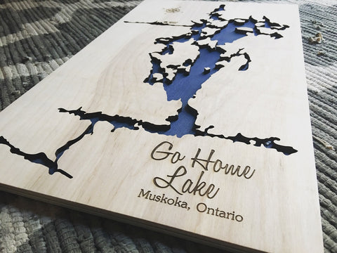 Go Home Lake, Canada - Custom Engraved 3-D Wood Map Wall Hanging