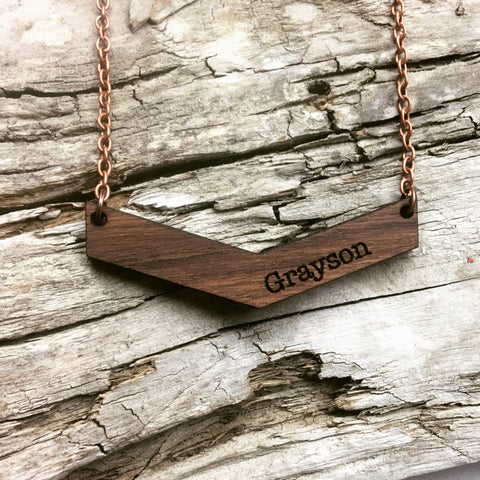 Mama Chevron Wood Engraved Name Necklace