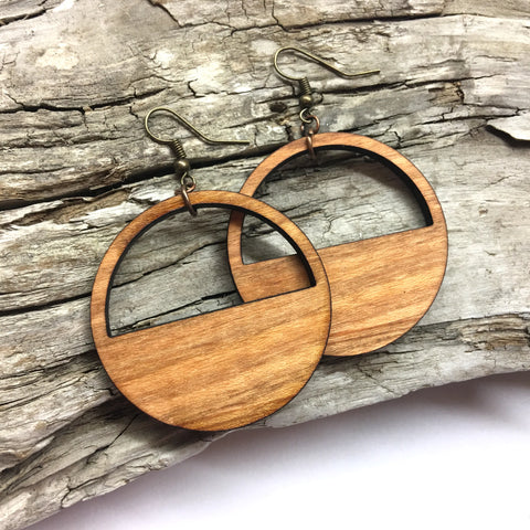 Semi Circle Half Moon Wood Hoop Earrings