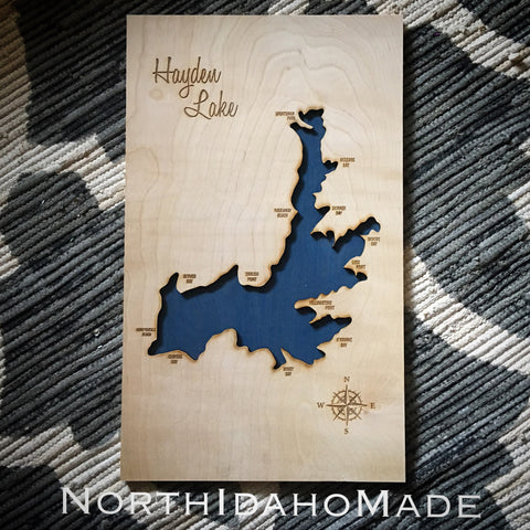 Hayden Lake, Idaho Custom Engraved 3-D Wood Map Wall Hanging