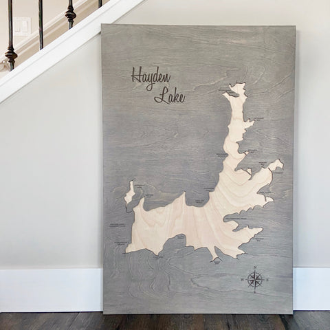 Hayden Lake 2ft x 3ft Grey with Natural Water 3D Map