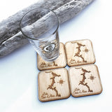 SET OF 4 Cocolalla Lake Idaho Wood Coasters