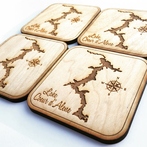 Set of 4 Wood Coasters - Lake Coeur d'Alene