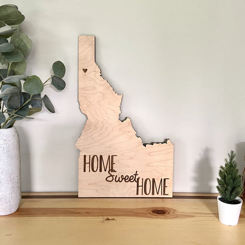 "In Stock - 18"" Natural Home Sweet Home Idaho Silhouette"