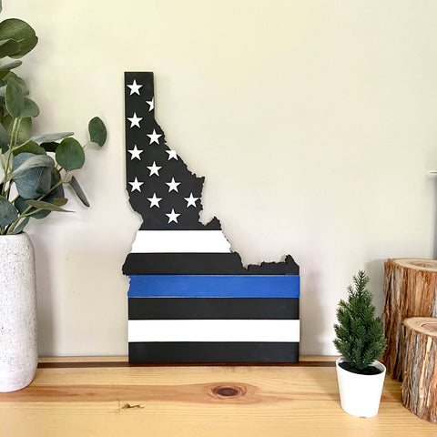 "In Stock - Thin Blue Line - 18"" Idaho 3-Dimensional Flag"