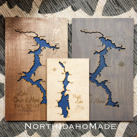 Design Your Own - Custom Engraved 3-D Wood Lake Map Wall Hanging